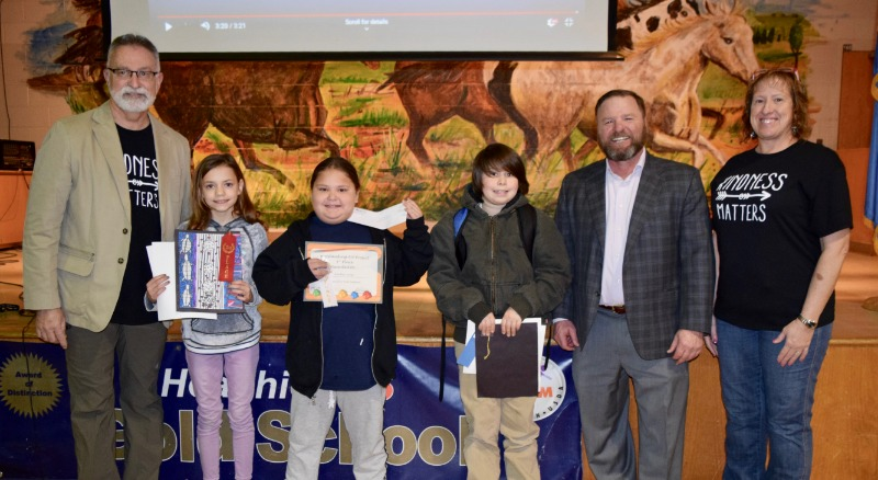 Art award winners for Horace Mann Elementary were announced recently. Kyle Rosebure (second from right) for Will Rosebure, BancFirst Insurance Services, Inc., presented the awards to the students. Joining in the presentation are, from left, Brent Houston,