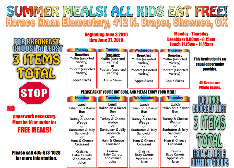 Shawnee Public Schools is offering free meals at several locations this summer.