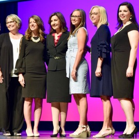 SECC kindergarten teacher Katie Thompson (third, from right) was named a finalist for 2020 Oklahoma Teacher of the Year. State Superintendent Joy Hofmeister (third, from left) made the announcement during the recent EngageOK conference.